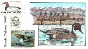 1990 South Dakota USA Duck Stamp Milford Hand Painted First Day Cover