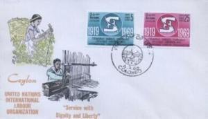 CEYLON - UN ILO FDC 1969 - Overseas Mailers