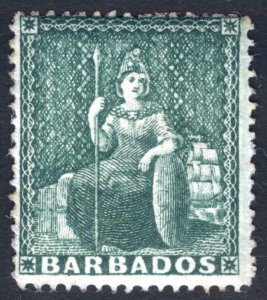 Barbados 1861 1/2d Deep Green P 14-16 No Wmk SG 17 Scott 13 MLH Cat £170($209)