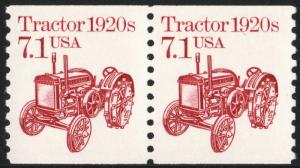 SC#2127 7.1¢ Tractor Coil Pair (1987) MNH