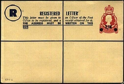 NEW ZEALAND 1/4 on 1/3 QE registered envelope unused - scarce..............19453