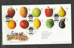 GB FDC 2003 Fruit & Veg, the 10 shapes, Pear Tree Derby Cancel, Typed address