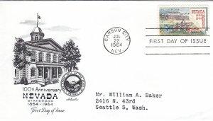 1964, Centennial Nevada Statehood, Artmaster, FDC (E11001)