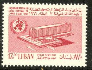 LEBANON 1966 17.50p WHO BUILDING Airmail Sc C470 MNH