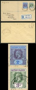 Cayman Is KGV 2/- and 3/- on Registered Wilson cover SUPERB
