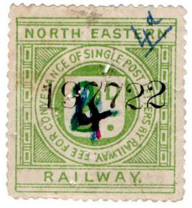 (I.B) North Eastern Railway : Letter Stamp 4d on 3d on 2d OP