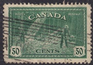 Canada 1946 - 47 KGV1 50ct Green Peace Re Conversion used SG 405 ( K268 )