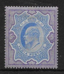 INDIA SG142 1904 5r ULTRAMARINE & VIOLET MTD MINT
