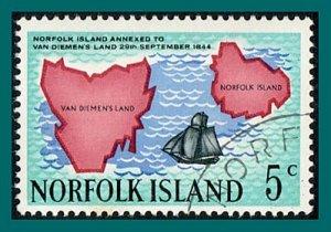 Norfolk Island 1969 Annexation, 5c used #123,SG100