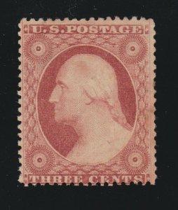 US 26 3c Washington Mint VF OG H SCV $65