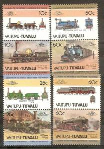 Tuvalu - Vaitupu 1985 Locomotive Railway Train Transport 8v MNH ++ 3287
