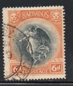 Barbados Sc 147 1920 6d orange & black Victory stamp used