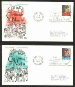 Canada Sc# 502-503 (Cole Covers) FDC Set/2 (a) (singles) 1969 10.8 Christmas