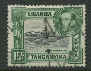 Kenya & Uganda - Scott 73 - KGVI Definitive -1943 - Used - Single 15c Stamp
