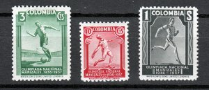 J26939 1937 colombia mh set #445-7 sports