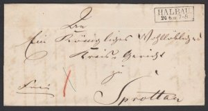 POLAND 1858 Cover :  folded entire with framed HALBAU.......................G200