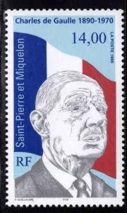 St. Pierre & Miquelon Scott 622 MNH** de Gaulle  stamp