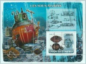 A0386 - COMOROS, ERROR, MISPERF, Souvenir sheet: 2008, Submarines, Marine Life