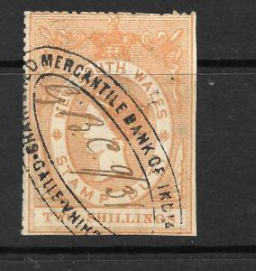NEW SOUTH WALES 1865  2/-   QV  STAMP DUTY USED    ...