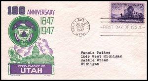 US 950 Utah Settlement Cachet Craft Boll Typed FDC