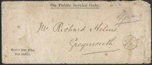 NEW ZEALAND 1879 OPSO cover ex GPO Wellington to Greymouth.................48626