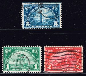 US STAMP #614-16 – Complete Set, 1924 Huguenot-Walloon Commemorative USED SET