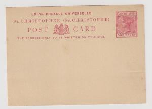 St Christopher QV postal card Mint small flts but attractive