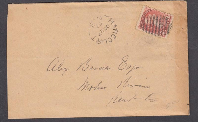NEW BRUNSWICK SPLIT RING TOWN CANCEL COVER HARCOURT