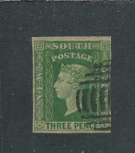 NEW SOUTH WALES 1856-60 3d YELLOW GREEN FU SG 115 CAT £110