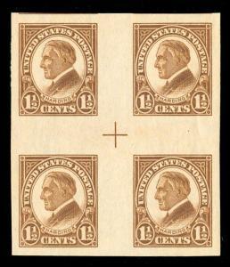 momen: US Stamps #631 Var. MNH OG Block of 4 XF PF Cert