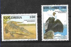 #1934 COLOMBIA 1992,UPAEP AMERICA ,FAUNA IN DANGER,BIRD COCODRIL YV 984-5 MNH