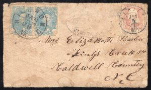 CSA# 4 Milky Blue(Stone 2) Pair - On Jan. 1865 Prisoners Cover with US#65 - $$$$