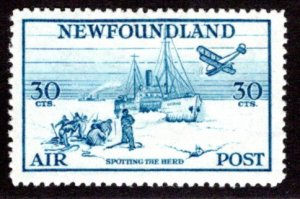 AM16, NSSC, 30¢ Spotting the Herd, blue, perf. 14.3, F/VF, MLH, Newfoundland