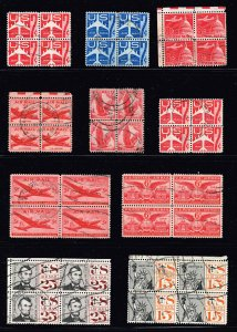 US STAMP BOB AIR MAIL BLK OF 4  USED STAMP COLLECTION LOT  #T2