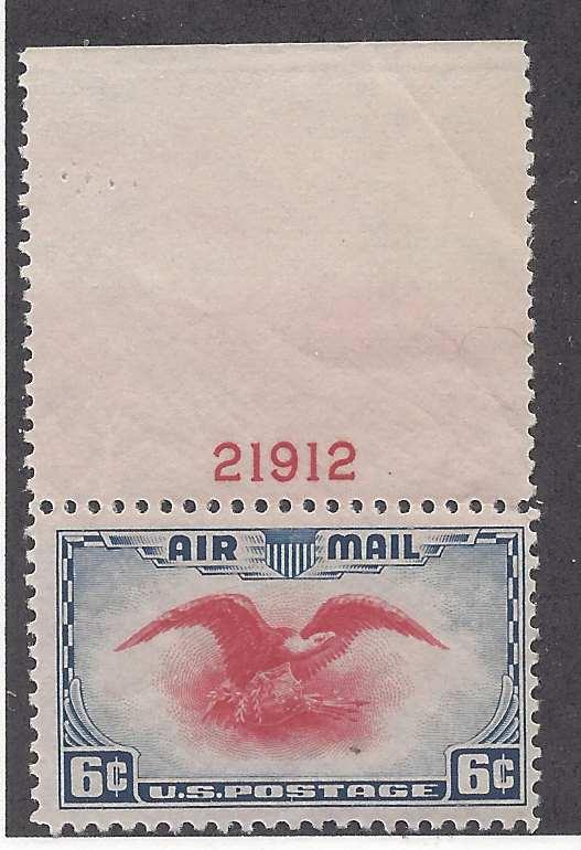 U S Air Mail C23 Single stamp Eagle holding shield, olive branch and arrows