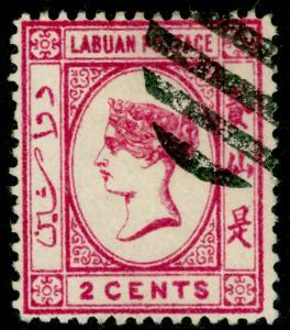 LABUAN SG51, 2c carmine-pink, FINE USED.