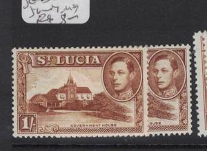 St Lucia SG 135 X 2 Shades MOG (3dtu)