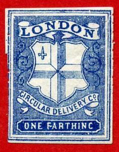 Circular Delivery SGCD31 London 1/4d deep blue mint