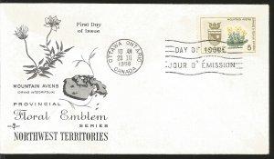 J) 1966 CANADA, MOUNTAIN AVENTS, FLOWER, FLORAL EMBLEM, NORTWEST TERRITORIES, WI