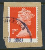GB Machin 1st SG 1667 SC# 299 Used 2 phos' bands offset printing perf 15 x 14...