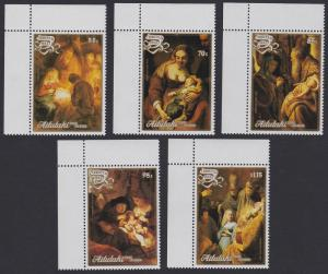 Aitutaki Paintings Rembrandt Christmas 5v Corners with margins SG#590-594