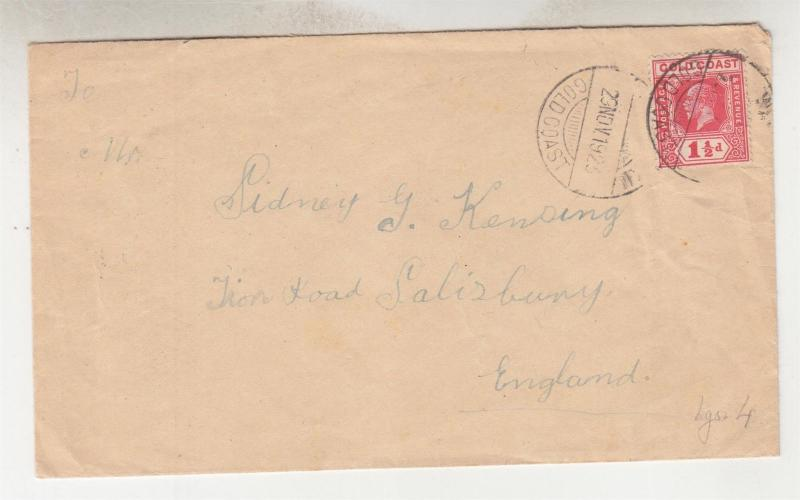 GOLD COAST, 1923 cover KGV 1 1/2d ? to GB, Accra transit.