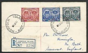 NORFOLK IS 1947 AUSTRALIA PERIOD Registered cover to UK...................56581