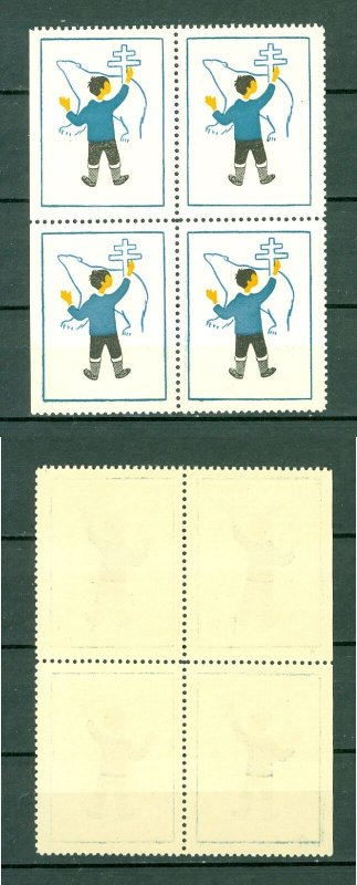 Greenland. 1955 Poster Stamp 4-Block  MNH. Aid Tuberculosis. Boy, Polar Bear.