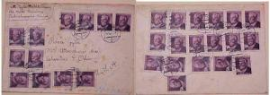 CZECHOSLOVAKIA  COVER VOUANY WITH 30 STAMPS TO USA 15 DEC 1950