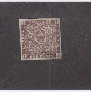 NEWFOUNDLAND (MK6781) # 15A VF-USED 1p 1861-2 CREST IMPERF /VIOLET-BROWN CV $300