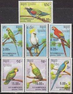 1989 Cambodge(Kampuchea) 1016-1022 Parrots 8,50 €