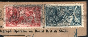 GB TELEGRAPHS Piece High Values SG.416+417 Seahorses ROLLER CANCEL c1923 E258