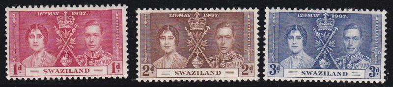 Swaziland # 24-26, Coronation Issue, Hinged with large hinge remnants, 1/3 Cat.