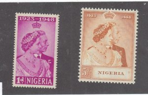 NIGERIA # 73-74 VF-MNH KGV1 1948 SILVER WEDDING (NIG1)